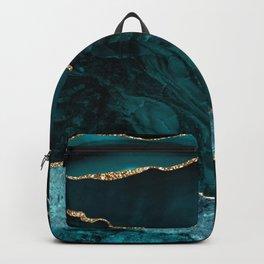 Teal Blue Emerald Marble Landscapes Backpack