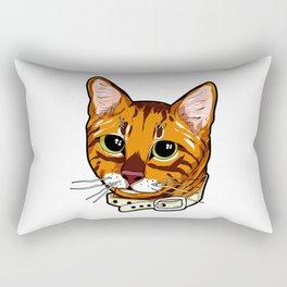 Toyger Cat face Cats orange cute funny gift comic Rectangular Pillow