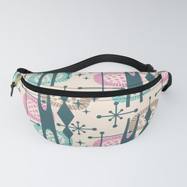 Retro Atomic Mid Century Pattern Green Pink Beige Fanny Pack
