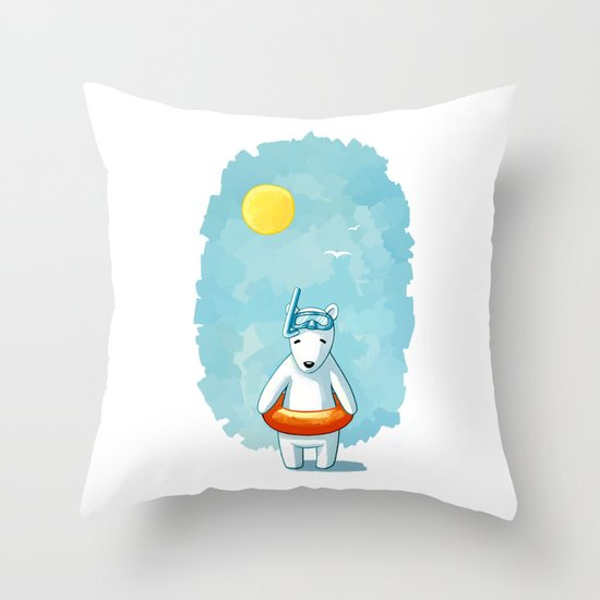 Polar Beach Throw Pillow