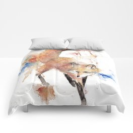 "Watercolor Painting of Picture ""Red Fox"" Comforters"