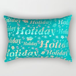 shiny font happy holidays in mint blue Rectangular Pillow