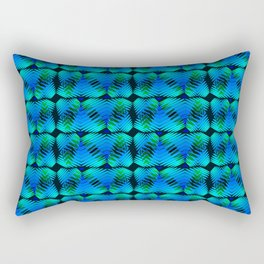 Striped hearts of the color of sea water on a blue background. Rectangular Pillow