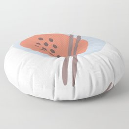 Frugal Food Blue Retro Floor Pillow