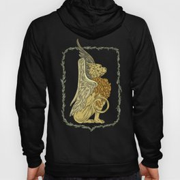Strong griffon in a green floral wreath Hoody