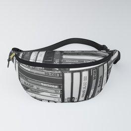 Music Cassette Stacks - Black and White - Something Nostalgic IV #decor #society6 #buyart Fanny Pack