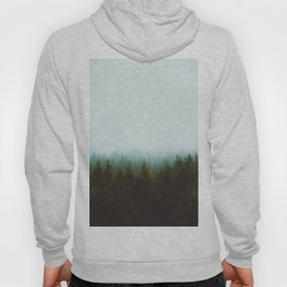 Misty Pine Forest Green Blue Hues Minimalist Photography Hoody