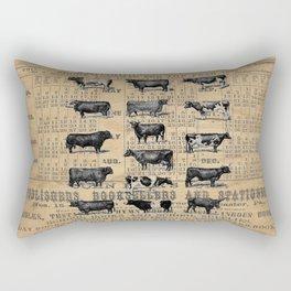 Vintage 1896 Cows Study on Antique Lancaster County Almanac Rectangular Pillow