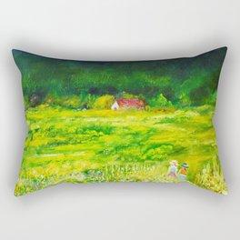 A Summer Walk In The Field Rectangular Pillow