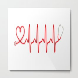 Ekg Heart Stethoscope Metal Print