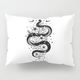 Serpent Spell -Black and White Pillow Sham