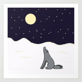 wolf in the winter Art Print