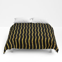 Art Deco Glitter-Gold Wavy Lines on Black Pattern Comforters