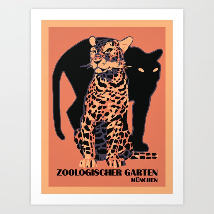 Retro vintage Munich Zoo big cats Kunstdrucke
