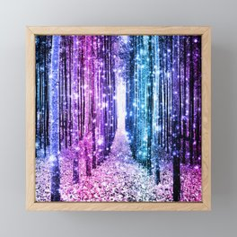 Magical Forest : Aqua Periwinkle Purple Pink Ombre Sparkle Framed Mini Art Print