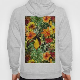 Tropical Vintage Exotic Jungle Flower Flowers - Floral watercolor pattern Hoody