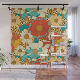 Red, Orange, Turquoise & Brown Retro Floral Pattern Wall Mural