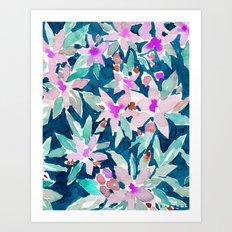 LET GO Tropical Watercolor Floral Art Print