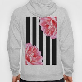 Pink roses on black and white stripes Hoody
