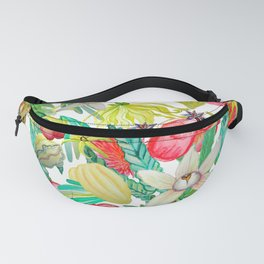 Exotic watercolor floral with tropical fruits and flowers Fanny Pack