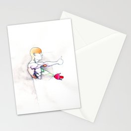 Luck, nude male muscle figure, NYC artist Stationery Cards