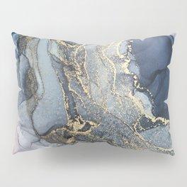 Blush, Payne's Gray and Gold Metallic Abstract Pillow Sham