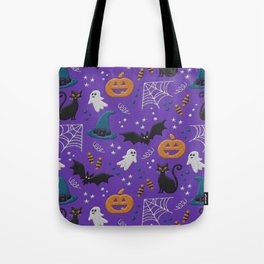 Halloween party illustrations purple realistic embroidery print Tote Bag