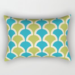 Classic Fan or Scallop Pattern 430 Olive Green and Turquoise Rectangular Pillow