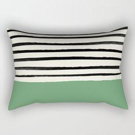 Moss Green x Stripes Rectangular Pillow