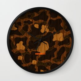 Modern Woodgrain Camouflage / Duck Print Wall Clock