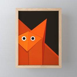 Dark Geometric Cute Origami Fox Framed Mini Art Print