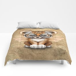 Tiger Cub with Fairy Wings Wearing Glasses Comforters