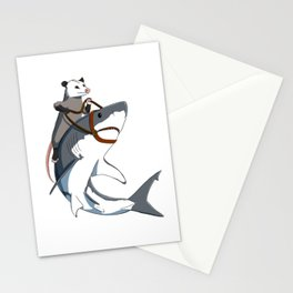 Opossum rides Shark Stationery Cards