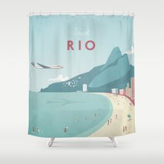 Vintage Rio Travel Poster Shower Curtain