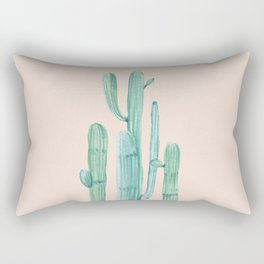 Solo Cactus Mint on Coral Pink Rectangular Pillow