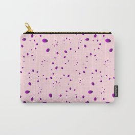 A lot of blueberry drops and petals on a pink background in mother of pearl. Carry-All Pouch