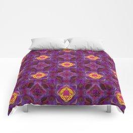 Purple Kaleidoscope Pattern Hippie Art Comforters
