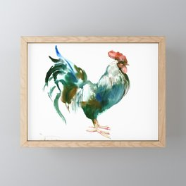 Rooster, Turquoise Blue Brown Kitchen art Framed Mini Art Print