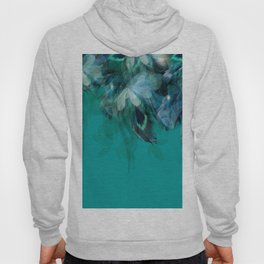 DREAMY FEATHERS & LEAVES - Deep Cyan Hoody