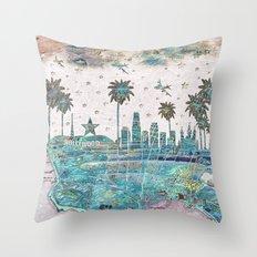 Los Angeles skyline vintage map Throw Pillow