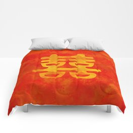 Double Happiness Symbol on red painted texture Comforters