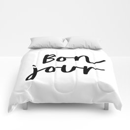 Bonjour black and white monochrome typography poster home wall decor bedroom minimalism Comforters