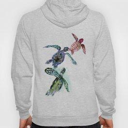 Sea Turtle Family, family art Hoody