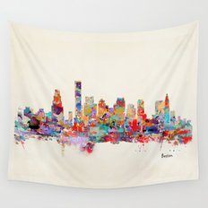 Boston city watercolor Wall Tapestry