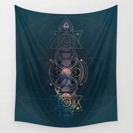 Dark Moon Phase Nebula Totem Wall Tapestry