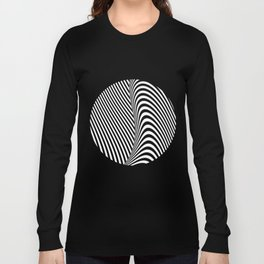 Black and White Pop Art Optical Illusion Lines Long Sleeve T-shirt