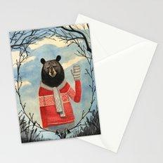 Bear Man portrait, woodland, tree frame Stationery Cards