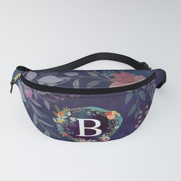 Personalized Monogram Initial Letter B Floral Wreath Artwork Fanny Pack