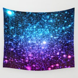 Glitter Galaxy Stars : Turquoise Blue Purple Hot Pink Ombre Wall Tapestry
