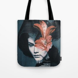 Red Flowers/Lady Portrait Tote Bag